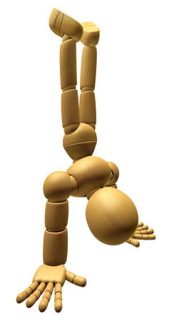 antithesis: 3D Wood Doll Mascot stand upside down. 3D Wooden Ball Jointed Doll Character Design Series. Stock Photo