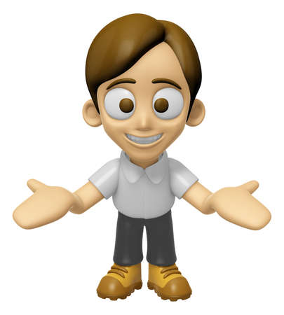 hooray: 3D Man Mascot the direction of pointing with both hands. Work and Job Character Design Series 2. Stock Photo