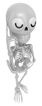 originative: 3D Skeleton Mascot is being immersed in thought for new ideas. 3D Skull Character Design Series.
