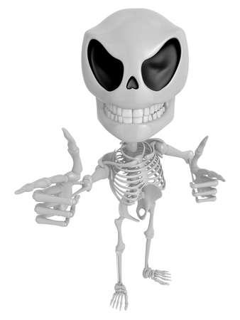 live feeling: 3D Skeleton Mascot is taking gestures of Double pistols. 3D Skull Character Design Series.