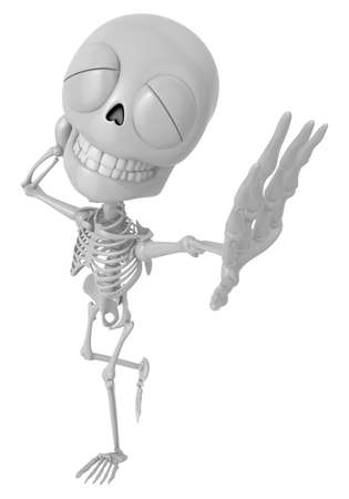 awkwardness: 3D Skeleton Mascot is just scratched his head from embarrassment awkwardness. 3D Skull Character Design Series.