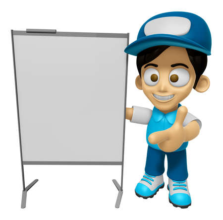 briefing: 3D Delivery Service Man Mascot is presentation in front of the a briefing chart. Work and Job Character Design Series 2. Stock Photo
