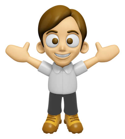 sentiment: 3D Man Mascot is cheering hands spread wide. Work and Job Character Design Series 2. Stock Photo