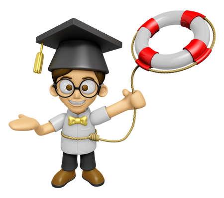 scholar: 3D Scholar Man Mascot is throwing a Lifebelt. Work and Job Character Design Series 2. Stock Photo