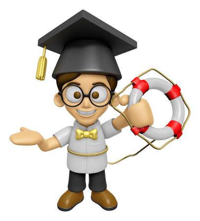 savant: 3D Scholar Man Mascot the hand is holding a Lifebelt. Work and Job Character Design Series 2.