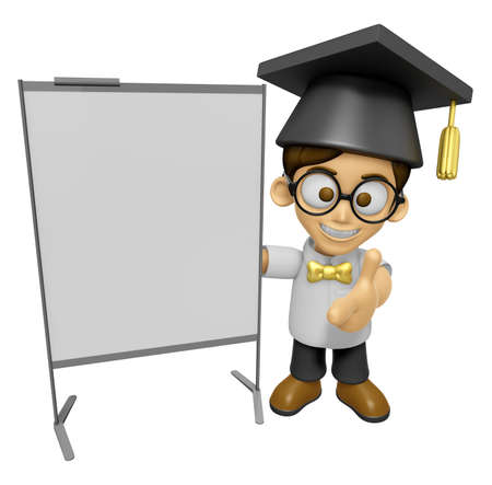 scholar: 3D Scholar Man Mascot is presentation in front of the a briefing chart. Work and Job Character Design Series 2. Stock Photo