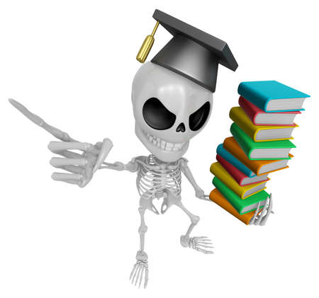 savant: 3D Skeleton Mascot is holding a pile of books. 3D Skull Character Design Series. Stock Photo