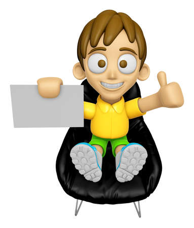 assume: 3D Child Mascot is sitting on a chair assume the gesture of the best. Work and Job Character Design Series 2.