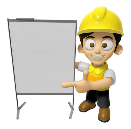 concise: 3D Construction Worker Man Mascot is concise explanation of a whiteboard. Work and Job Character Design Series 2.