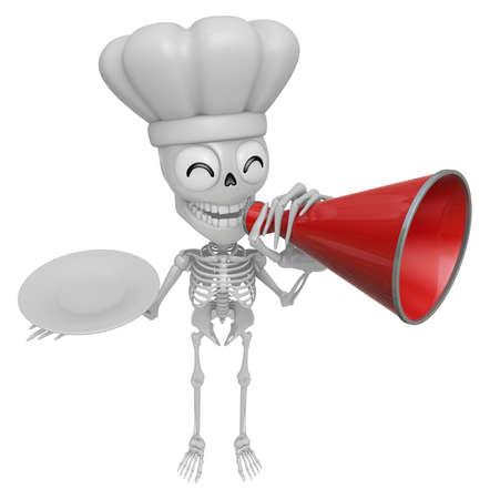 mortal: 3D Skeleton Mascot is speakn over a loudspeaker. 3D Skull Character Design Series.
