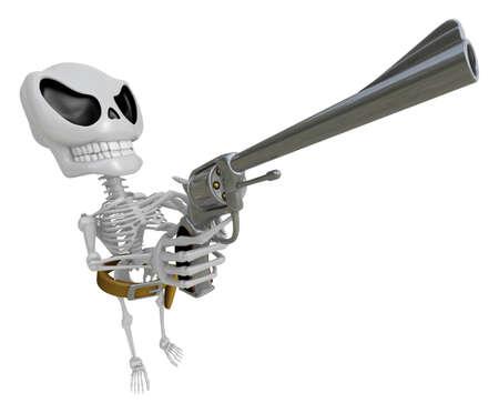 gunslinger: 3D Skeleton Mascot cowboys is holding a revolver gun pose. 3D Skull Character Design Series. Stock Photo