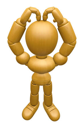jointed: 3D Wood Doll Mascot is loving finger gestures of your head up. 3D Wooden Ball Jointed Doll Character Design Series. Stock Photo