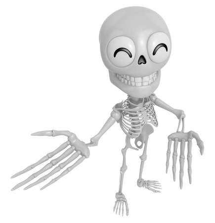 live feeling: 3D Skeleton Mascot Suggests the direction with both hands. 3D Skull Character Design Series.