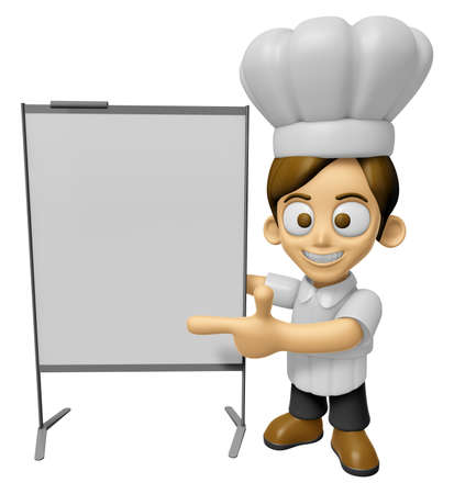 concise: 3D Chef Man Mascot is concise explanation of a whiteboard. Work and Job Character Design Series 2.