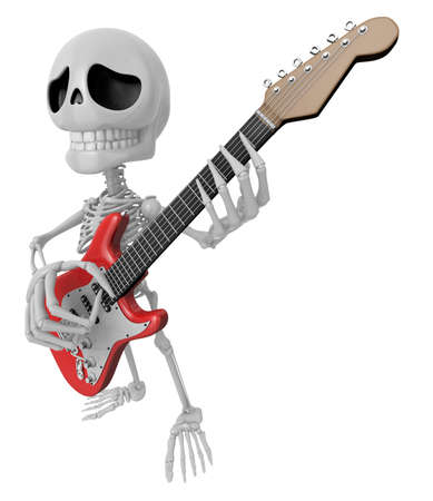 mortal: 3D Skeleton Mascot is played the guitar with nimble fingers. 3D Skull Character Design Series. Stock Photo