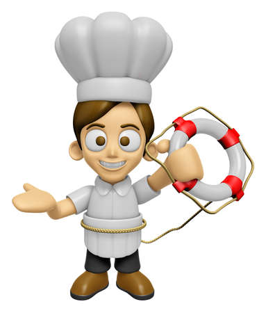 lifebelt: 3D Chef Man Mascot the hand is holding a Lifebelt. Work and Job Character Design Series 2. Stock Photo