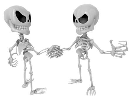 competitors: 3D Skeleton Mascot is Competitors will shake the false divide each other. 3D Skull Character Design Series. Stock Photo