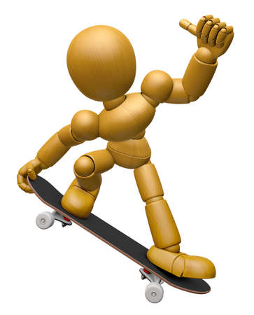 3d doll: 3D Wood Doll Mascot to play skateboard. 3D Wooden Ball Jointed Doll Character Design Series.
