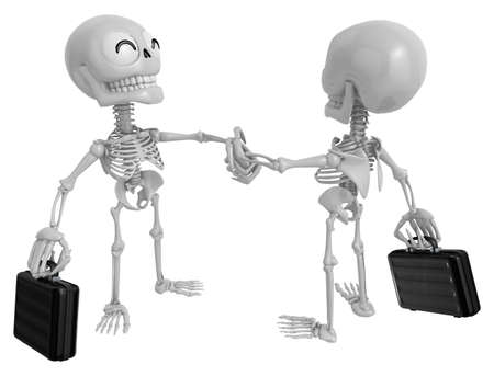 handclasp: 3D Skeleton Mascot shake hands with each other. 3D Skull Character Design Series.