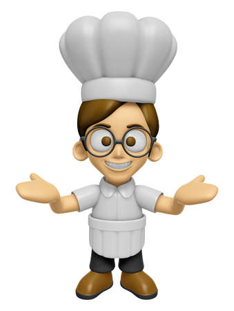 welcomed: 3D Chef Man Mascot has been welcomed with both hands. Work and Job Character Design Series 2.