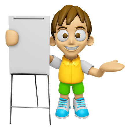 briefing: 3D Child Mascot is presentation in front of the a briefing chart. Work and Job Character Design Series 2. Stock Photo