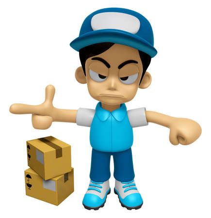 out of job: 3D Delivery Service Man Mascot is rap out a complaint. Work and Job Character Design Series 2.