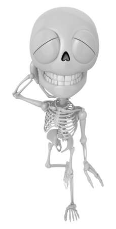 live feeling: 3D Skeleton Mascot is just scratched his head from embarrassment awkwardness. 3D Skull Character Design Series.