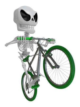 dynamic activity: 3D Skeleton Mascot is Going on a bike trip. 3D Skull Character Design Series.