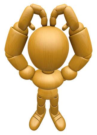 curare teneramente: 3D Legno Doll mascotte � amare gesti delle dita della vostra testa. 3D legno Palla Jointed Doll Character Design Series.