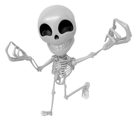 live feeling: 3D Skeleton Mascot is money gestures of both hands. 3D Skull Character Design Series.