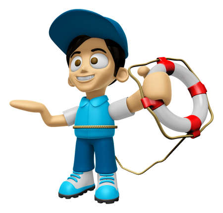 lifebelt: 3D Delivery Service Man Mascot the hand is holding a Lifebelt. Work and Job Character Design Series 2.