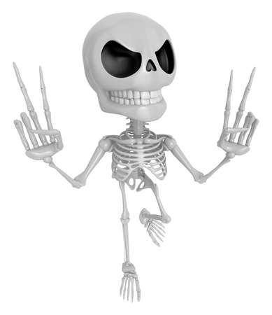 live feeling: 3D Skeleton Mascot is taking a gesture of victory. 3D Skull Character Design Series.