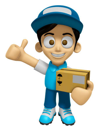 provide: 3D Delivery Service Man Mascot is to provide the best service. Work and Job Character Design Series 2. Stock Photo