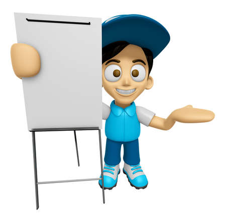 concise: 3D Delivery Service Man Mascot is concise explanation of a whiteboard. Work and Job Character Design Series 2.