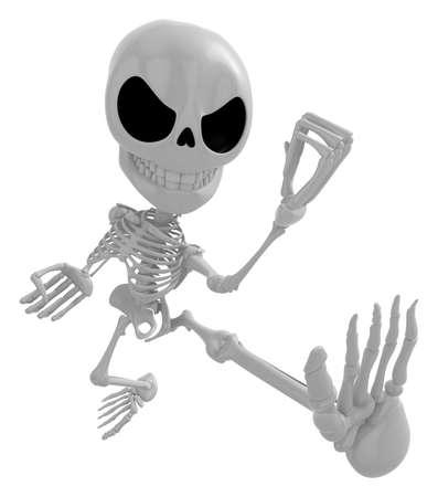 whip: 3D Skeleton Mascot to be powerful whip kicks. 3D Skull Character Design Series.