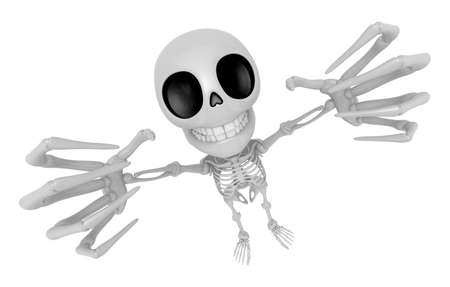scaring: 3D Skeleton Mascot is scaring the daylight out of somebody. 3D Skull Character Design Series.