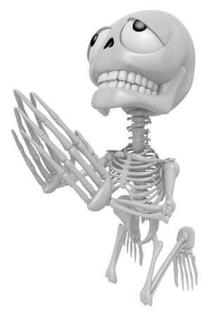 god 3d: 3D Skeleton Mascot offered up prayers to God the Father. 3D Skull Character Design Series.