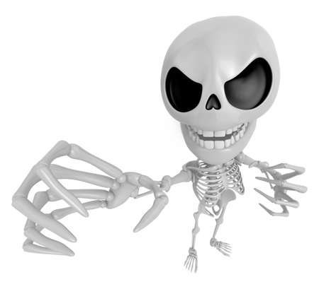 somebody: 3D Skeleton Mascot is scaring the daylight out of somebody. 3D Skull Character Design Series.