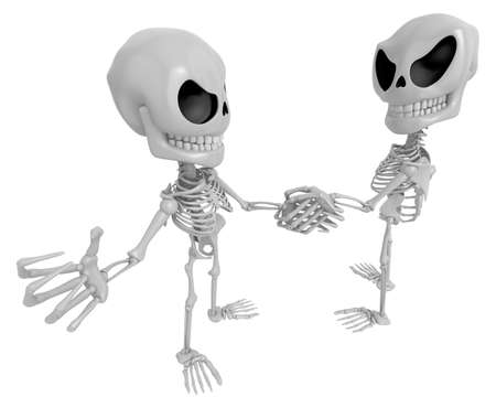 handclasp: 3D Skeleton Mascot is Competitors will shake the false divide each other. 3D Skull Character Design Series. Stock Photo