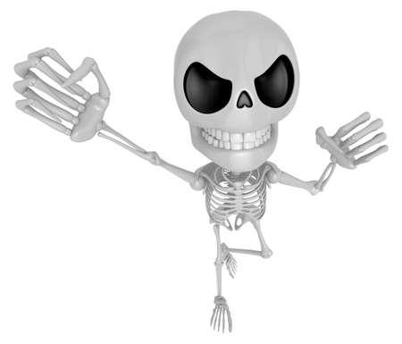 live feeling: 3D Skeleton Mascot is fighting gestures. 3D Skull Character Design Series.