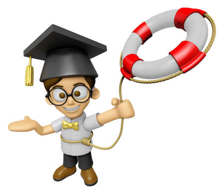 brainy: 3D Scholar Man Mascot is throwing a Lifebelt. Work and Job Character Design Series 2. Stock Photo