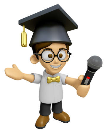 brainy: 3D Scholar Man Mascot the hand is holding a Microphone. Work and Job Character Design Series 2. Stock Photo