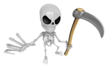 guada�a: 3D Esqueleto de la mascota del Reaper un blandir guada�a muy agudo. Cr�neo 3D Car�cter Serie Dise�o.