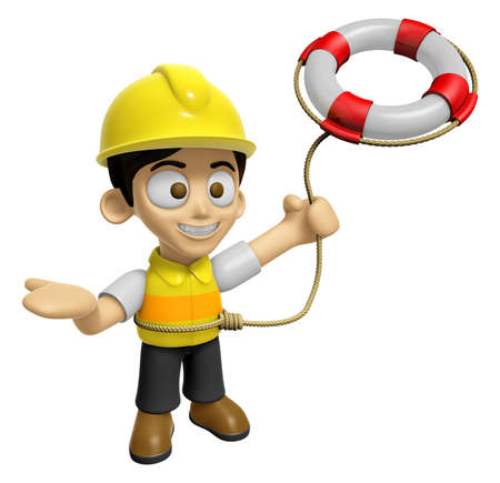 creation of sites: 3D Construction Worker Man Mascot is throwing a Lifebelt. Work and Job Character Design Series 2. Stock Photo