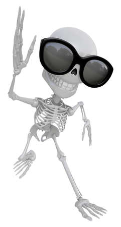 endeavor: 3D Skeleton Mascot on Running. 3D Skull Character Design Series.
