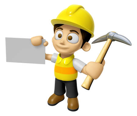 creation of sites: 3D Construction Worker Man Mascot is holding electric pickax and business card. Work and Job Character Design Series 2. Stock Photo