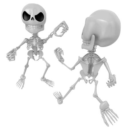 chivalry: 3D Two Skeleton Mascot is a fist fighting. 3D Skull Character Design Series.