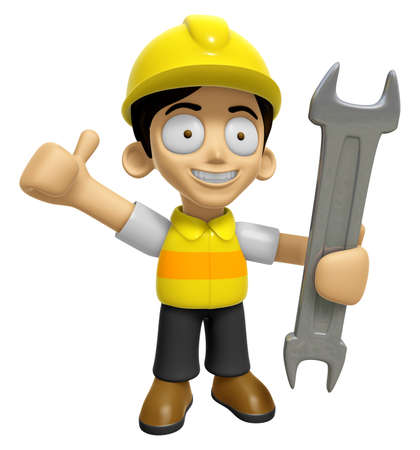 left hand: 3D Construction Worker Man Mascot the Right hand best gesture and Left hand is holding a wrench. Work and Job Character Design Series 2.