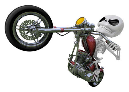 dynamic activity: 3D Skeleton Mascot is motorcycle do an acrobatic movement. 3D Skull Character Design Series.