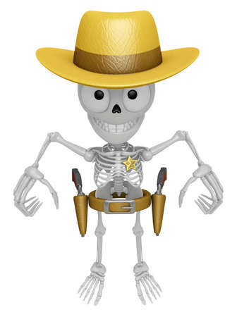 informal: 3D Skeleton Mascot is cowboys taking to pose a gunfight. 3D Skull Character Design Series.